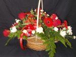 Red Rose Basket Flower Arrangement