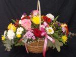 Mixed Rose Basket Flower Arrangement